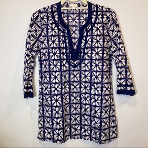 J.Crew navy and white printed tunic